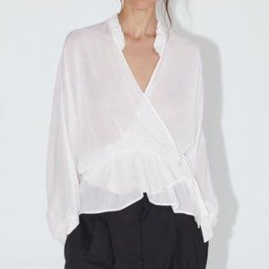 Zara Crossed Ruffled Blouse